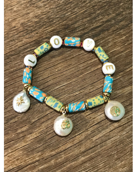 Bracelet gomme LOVE turquoise - Hypnochic