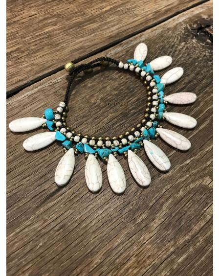 Chaine cheville Drop blanc & turquoise - Hypnochic