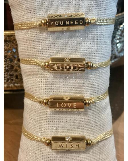 Bracelet Cylindre corde doré