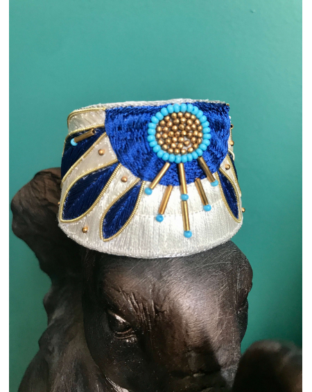 Bracelet manchette Apauline bleu grec- Nahua
